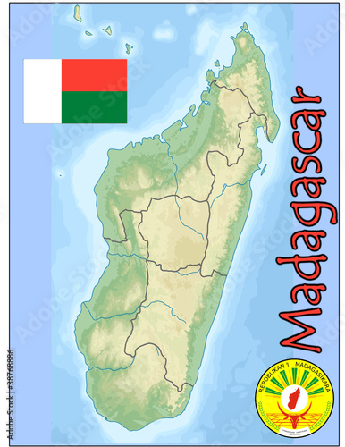 madagascar africa map flag emblem