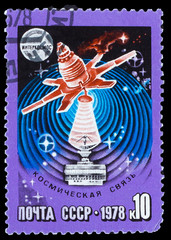 USSR - CIRCA 1978: stamp printed in USSR, space communications,