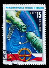 USSR - CIRCA 1978: A stamp printed in USSR, docked Soyuz spacecr