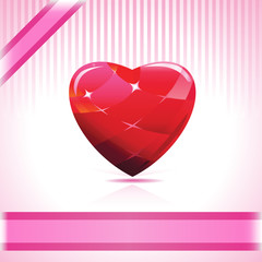Shiny Ruby Heart On Pink Background