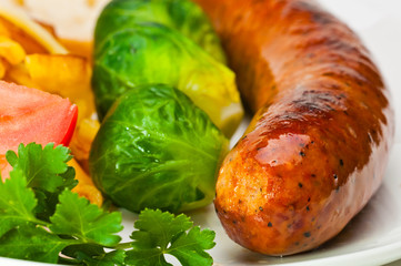 German sausage with vegetables.