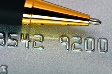 Close-up picture of a credit card as a background.
