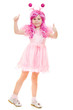 A girl with pink hair in a pink dress shows gesture okay