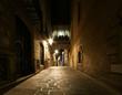 Gothic quarter at night. Empty alleyways in Barcelona