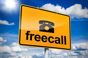Ortseingangsschild mit Freecall