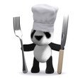3d Panda Bear chef with knife and fork