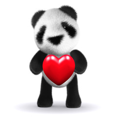 3d Panda Bear hugs a red heart