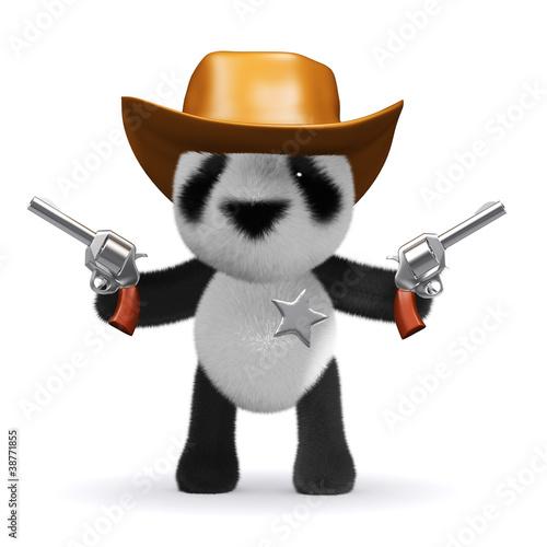 3d Panda Bear Sheriff fires both his guns