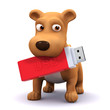 3d Dog chews a USB drive