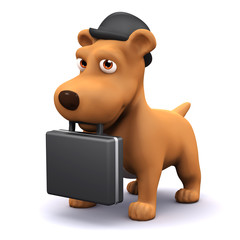 3d Dog in bowler hat with briefcase