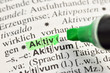 Aktiv im Wörterbuch markiert