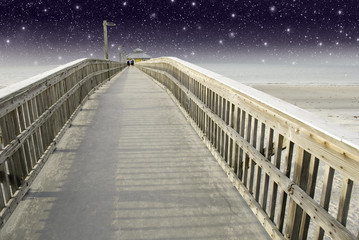 Starry Night over a Pier in Fort Myers, Florida