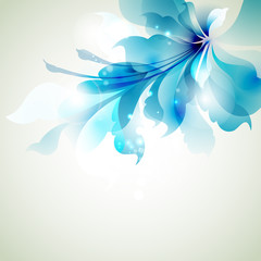 Tender background with blue abstract flower