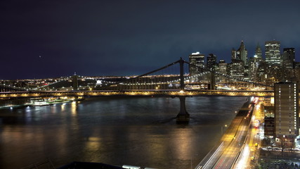 Manhattan and Brooklyn Bridge Time Lapse at Night