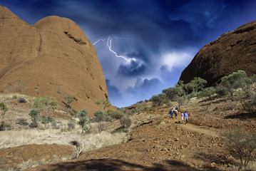 Storm and Lightnings over Australian Outback