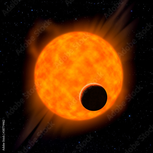 Sun with planet in front