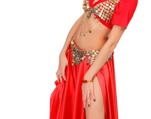 Belly dancer isolated on a white background