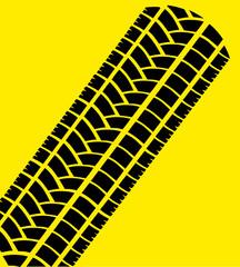 Reifenabdruck/ Rennstreifen auf gelb