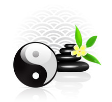 Feng Shui achtergrond met Yin Yang symbool