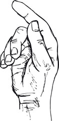 Sketch of hand in the gesture of touching, pushing, indicating.