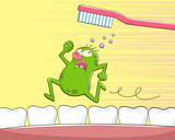 Fototapety germ running away from a tooth brush