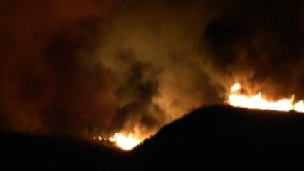 Raging Wildfire In Hills (HD)