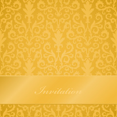 Damask pattern, seamless, golden, banner, invitation