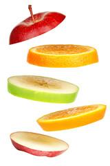 Levitating fresh sliced fruit