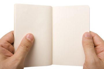 Male hand holding empty notebook