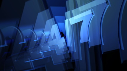 Blue Twenty Four Seven (24-7) 3D Text Animation