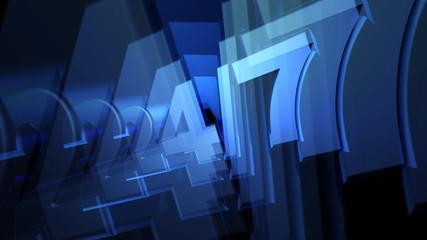 Blue Twenty Four Seven (24-7) 3D Text Animation