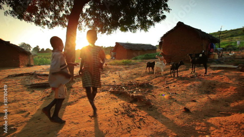 Kids near a village in Kenya.