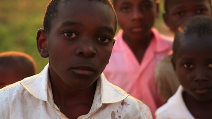 Boys looking at the camera in Africa.