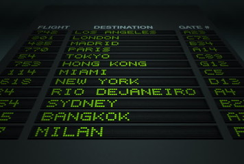 Airport Flight Information Board