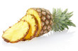 Pineapple sliced on white, clipping path included