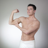 body builder flexing his pecs poster