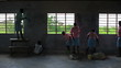 The inside of a school being painted in Kenya.