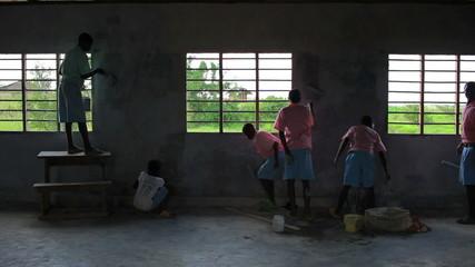 The inside of a school being painted in Kenya.