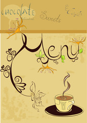 Template for menu with a cup of coffee
