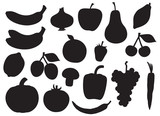 Fruit and vegetable silhouette collection
