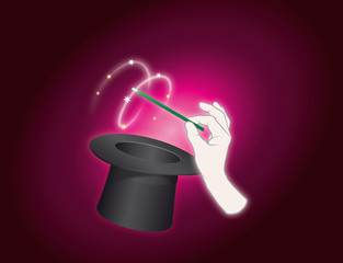 Zauberei  mit Zylinder und Hand