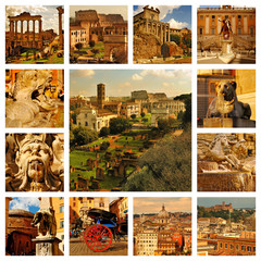 Famous places in Rome, Italy. Around the Roman Forum.