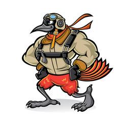 Cartoon oriole bird aviator