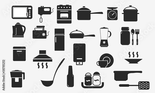 kitchenware and household appliances icons.