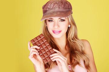 Pretty Woman Holding Chocolate Treat