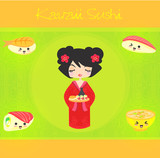 kawaii cute sushi set poster