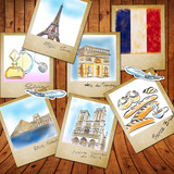 drawing famouse landmark of France in photo frame poster