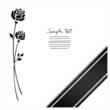 Mourning Card Black Ribbon & 2 Black Roses