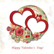 Greeting Card to Valentine's Day with roses&hearts