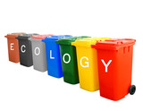 Colorful recycle bins with ecology wording concept